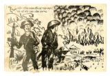 Chieu Hoi leaflet with Vietcong burning village and American soldiers helping villagers