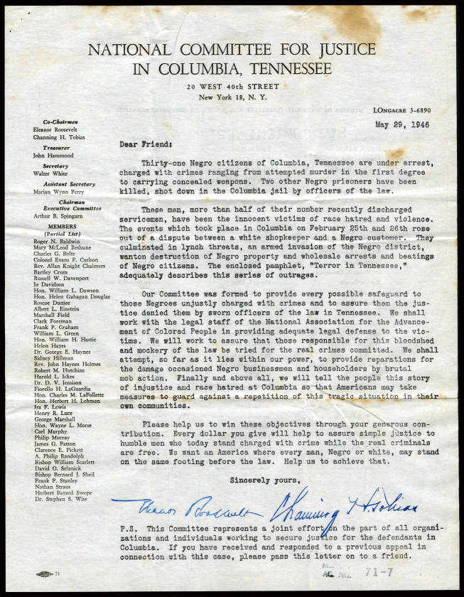 Columbia Acceptance Letter.42198 01 Education Outreach Tennessee Virtual Archive